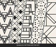 Abstract concepten zwart-wit geometrisch patroon Zwart-witte minimale achtergrond Creatief illustratiemalplaatje naadloos Royalty-vrije Stock Afbeeldingen