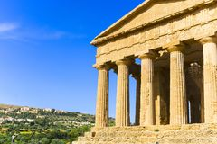 Abstract and conceptual of ancient Greece in Agrigento. The Greek Temple of Concordia, the ancient city of Akragas, located in the valley of the temples of Royalty Free Stock Image