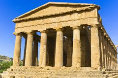 Abstract and conceptual of ancient Greece in Agrigento. The Greek Temple of Concordia, the ancient city of Akragas, located in the valley of the temples of Royalty Free Stock Images