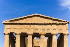 Abstract and conceptual of ancient Greece in Agrigento. The Greek Temple of Concordia, the ancient city of Akragas, located in the valley of the temples of Royalty Free Stock Photography