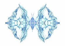 Abstract conceptual design. Blue butterfly over white. Background Stock Photo