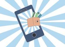 Abstract conceptueel beeld van bedrijfs mobiele betaling via smartphone, dichtbij Gebiedsmededeling (NFC) Royalty-vrije Stock Foto's