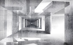 Abstract concreet 3d binnenland met grungy muren Stock Afbeeldingen