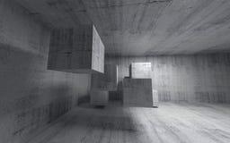 Abstract concreet 3d binnenland met vliegende kubussen Royalty-vrije Stock Afbeelding