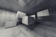 Abstract concreet 3d binnenland met vliegende kubussen Stock Afbeeldingen