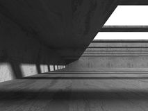 Abstract Concrete Architecture Background. Empty Dark Room. 3d Render Illustration Royalty Free Stock Photo