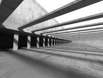 Abstract Concrete Architecture Background. Empty Dark Room Stock Photo