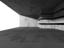 Abstract concrete architecture background. Empty dark room. 3d render illustration Stock Photos