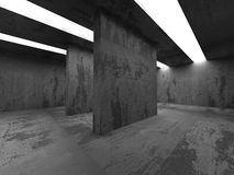 Abstract Concrete Architecture Background. Empty Dark Room With. Light. 3d Render Illustration Stock Photography