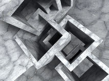 Abstract concrete architecture chaotic cubes construction. 3d render illustration Stock Photography