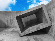 Abstract concrete architecture on cloud sky background. 3d render illustration vector illustration