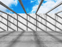 Abstract concrete architecture on cloud sky background. 3d render illustration royalty free illustration