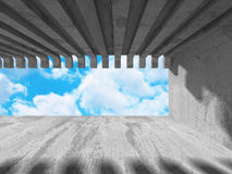 Abstract concrete architecture on cloud sky background. 3d render illustration stock illustration