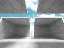 Abstract Concrete Architecture Construction on Sky Background. 3d Render Illustration vector illustration