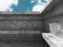 Abstract Concrete Architecture Construction on Sky Background. 3d Render Illustration royalty free illustration