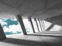 Abstract Concrete Architecture Construction on Sky Background. 3d Render Illustration stock illustration