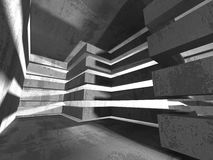 Abstract concrete architecture dark background. 3d render background Royalty Free Stock Photo