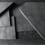 Abstract concrete architecture. Dark empty room interior. 3d render illustration Stock Photos