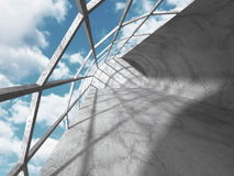 Abstract concrete architecture on sky background. 3d render illustration stock illustration