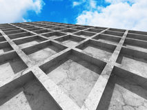 Abstract concrete architecture on sky background. 3d render illustration vector illustration