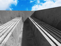 Abstract concrete architecture on sky background. 3d render illustration royalty free illustration
