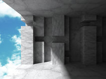 Abstract concrete architecture on sky background. Empty urban ro. Om interior. 3d render illustration stock illustration