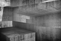 Abstract concrete background, 3d art. Abstract concrete background, intersected walls and girders, illustration with double exposure effect, 3d render Royalty Free Stock Photo