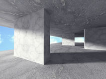 Abstract Concrete Construction Architecture Background. Geometri. C Building On Sky. 3d Render Illustration stock illustration