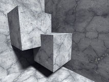 Abstract Concrete Cubes Architecture Construction Background. 3d Render Illustration Stock Photo