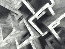 Abstract concrete cubes chaotic architecture background. 3d render illustration stock illustration