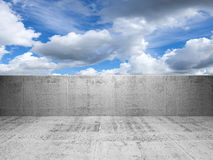Abstract concrete 3d interior with cloudy sky Royalty Free Stock Photography