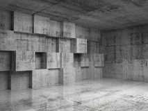 Abstract concrete 3d interior with cubes. Abstract empty concrete 3d interior with decoration cubes on the wall Stock Photography