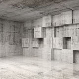 Abstract concrete 3d interior with cubes. On the wall Stock Photo