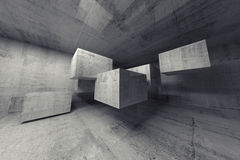 Abstract concrete 3d interior with flying cubes. Abstract concrete 3d interior with big flying cubes Stock Images