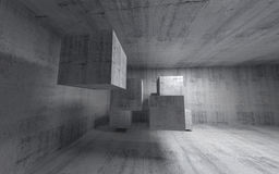 Abstract concrete 3d interior with flying cubes. Wide angle stock illustration