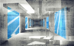 Abstract concrete 3d interior perspective Stock Photography