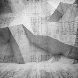 Abstract concrete 3d interior with polygonal pattern on wall Royalty Free Stock Photos