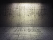 Abstract concrete 3d interior with spot light on the wall. Abstract dark concrete 3d interior with spot light on the wall Royalty Free Stock Photography