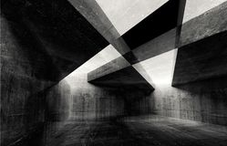 Abstract concrete interior background texture. Abstract concrete interior background, dark intersected walls, digital illustration with double exposure effect royalty free illustration