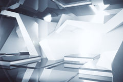 Abstract concrete interior. With bright daylight. 3D Rendering Stock Image