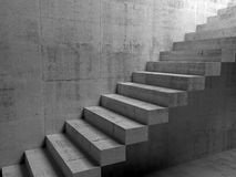 Abstract concrete interior with cantilevered stairs. On the wall, 3d illustration Stock Image