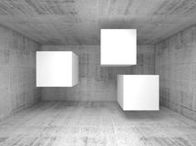 Abstract concrete interior, flying cubes 3 d Royalty Free Stock Images