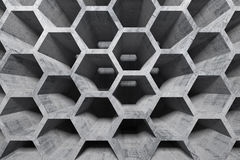 Abstract concrete interior with honeycomb structure Stock Photos