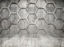 Abstract concrete interior with honeycomb. Structure on gray wall Stock Photos