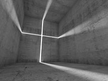 Abstract concrete interior with lighting cross Stock Images