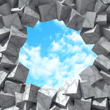 Abstract concrete stone cubes hole to sky. Art background Royalty Free Stock Image