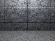 Abstract concrete tile wall dark room background Stock Images