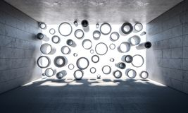 Abstract concrete tubes. And room nobody inside 3d rendering image Royalty Free Stock Image