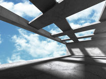 Abstract concrete urban architecture on sky background. 3d render illustration stock illustration