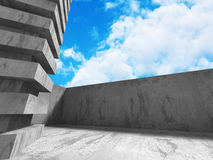 Abstract concrete wall architecture on cloud sky background. 3d render illustration stock illustration
